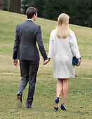 Jared Kushner and Ivanka Trump follow United States President Donald J. Trump and Prime Minister Shinzō Abe of Japan as they depart the South Lawn of the White House in Washington, DC on Friday, February 10, 2017.  The two leaders are scheduled to have dinner with their wives at Mar-a-Lago in Florida.<br /> Credit: Ron Sachs / CNP