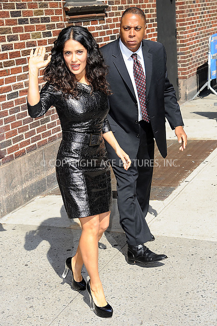 WWW.ACEPIXS.COM . . . . . <br /> July 10, 2013...New York City<br /> <br /> Salma Hayek Pinault leaving the Late Show with David Letterman on July 10, 2013  in New York City.<br /> <br /> Please byline: Kristin Callahan - ACEPIXS.COM.. . . . . . ..Ace Pictures, Inc: ..tel: (212) 243 8787 or (646) 769 0430..e-mail: info@acepixs.com..web: http://www.acepixs.com