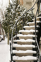 Dece,ber 2005 File Photo - Montreal , Quebec, CANADA - snow fall near Saint-Louis Square in Plateau burrough of Montreal
