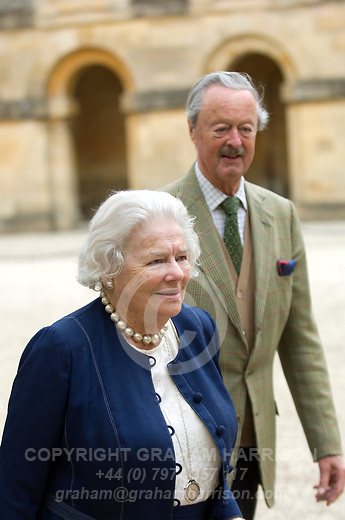 Lady Mary Soames, daughter of Winston and Clementine Churchill with John Spencer-Churchill, 11th Duke of Marlborough, at Blenheim Palace during the Woodstock Literary Festival, Oxfordshire, UK, 18 September 2011. Photo copyright Graham Harrison.