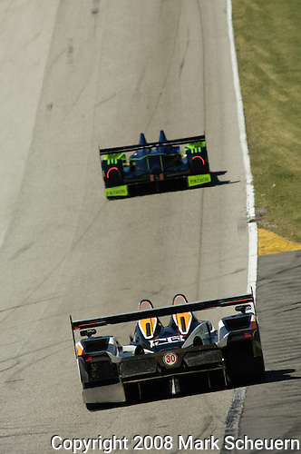 08 August 2008: The Intersport Racing Lola B06/10 AER, driven by Ryan Lewis (USA), John Faulkner (USA), and Gregor Fisken (XSC) ,follows the Highcroft Racing Acura up the hill to turn 6 at the Generac 500  at Road America, Elkhart Lake, Wisconsin, USA.