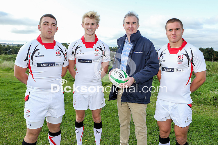 Ulster Schools U18 | Saturday 5th September 2015<br /> <br /> Regent House player Kyle Van Giesen, Sullivan Upper player Chris Jordan and Bangor Grammar School player Matthew Agnew with Danske Bank representative Mark Beattie at a recent training session at Newforge Country Club in Belfast. Photo : John Dickson - DICKSONDIGITAL