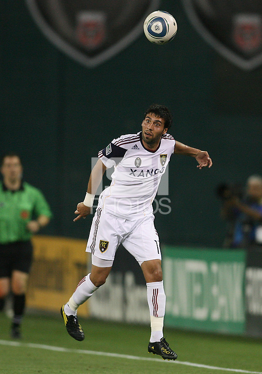 Javier Morales #11 of Real Salt Lake during an Open Cup match against D.C. United at RFK Stadium, on June 2 2010 in Washington DC. DC United won 2-1.