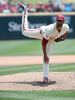 NWA Democrat-Gazette/J.T. WAMPLER Isaiah Campbell pitches against Texas A&M Sunday May 13, 2018 at Baum Stadium in Fayetteville. Arkansas won 6-3 to sweep the three game series.