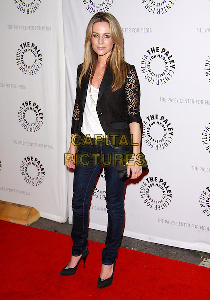 "JESSALYN GILSIG.27th Annual Paley Fest  presents  ""Glee""  held at the Saban Theatre, Beverly Hills, California, USA..March 13th, 2010.full length sleeves sheer see thru through blazer black lace jacket white top gold jeans denim  shoes clutch bag .CAP/ADM/TC.©T. Conrad/AdMedia/Capital Pictures."