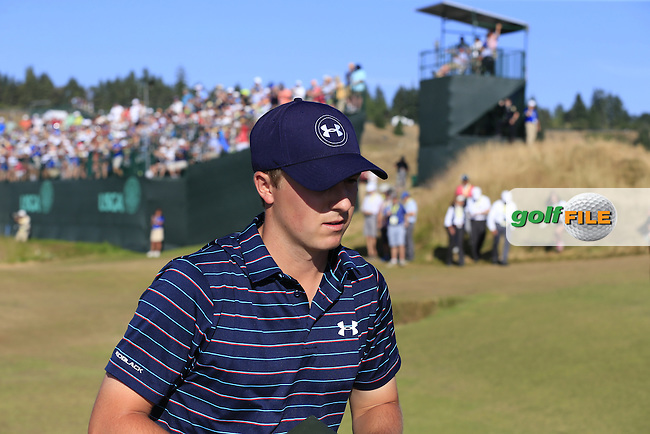 Jordan Speith (USA) walks off the 15th green during Sunday's Final Round of the 2015 U.S. Open 115th National Championship held at Chambers Bay, Seattle, Washington, USA. 6/22/2015.<br /> Picture: Golffile | Eoin Clarke<br /> <br /> <br /> <br /> <br /> All photo usage must carry mandatory copyright credit (&copy; Golffile | Eoin Clarke)