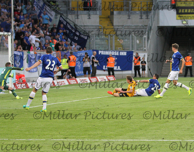 Niklas Hauptmann scores the opening goal in the Dynamo Dresden v Everton match in the Bundeswehr Karriere Cup Dresden 2016 played at the DDV Stadion, Dresden on 29.7.16.