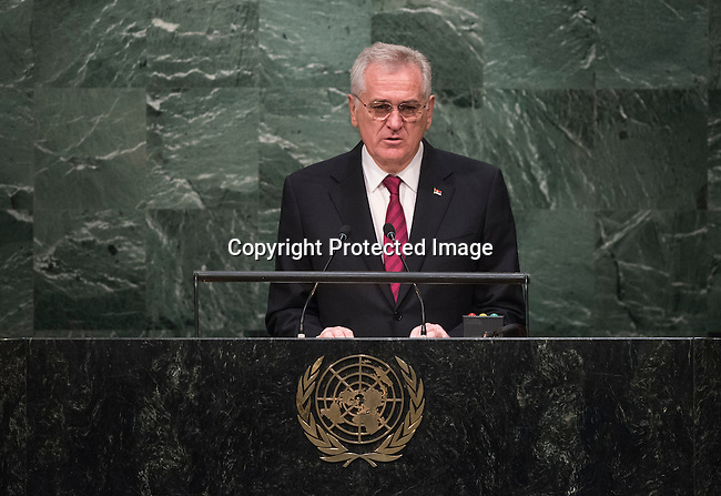 His Excellency Tomislav Nikolić, President of the Republic of Serbia <br /> <br /> General Assembly Seventieth session 9th plenary meeting: High-level plenary meeting of the (6th meeting)