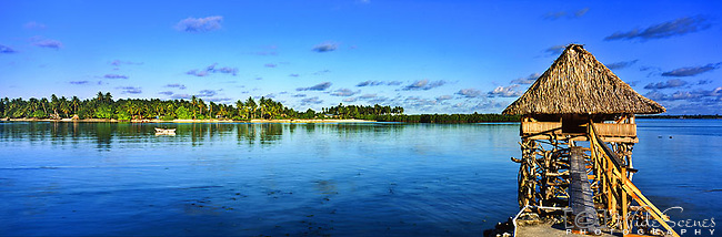 Kiribati Panorama - Over water accommodation in North Tarawa, Kiribati<br />