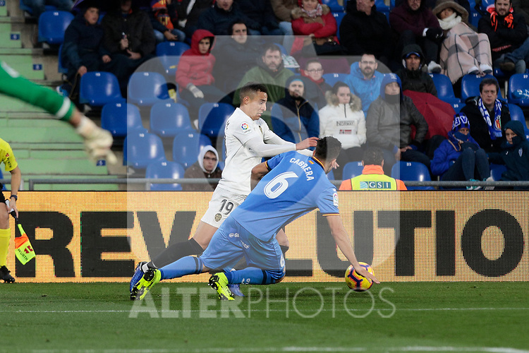 Getafe CF's Leandro Cabrera during La Liga match between Getafe CF and Valencia CF at Coliseum Alfonso Perez in Getafe, Spain. November 10, 2018.