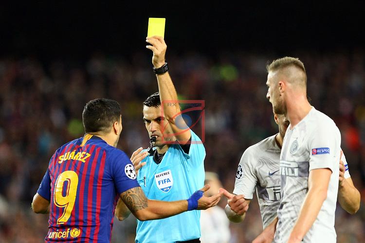 UEFA Champions League 2018/2019 - Matchday 3.<br /> FC Barcelona vs FC Internazionale Milano: 2-0.<br /> Luis Suarez & Ovidiu Hategan.