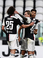 Calcio, Serie A: Juventus - Sampdoria, Turin, Allianz Stadium, July 26, 2020.<br /> Juventus' Federico Benardeschi (c) celebrates after scoring during with his teammate Cristiano Ronaldo (r) and Adrian Rabiot (l) during the Italian Serie A football match between Juventus and - Sampdoria at the Allianz stadium in Turin, July 26, 2020.<br /> UPDATE IMAGES PRESS/Isabella Bonotto