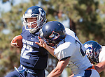 Palos Verdes, CA 09/24/16 - Alex Rosso (Chadwick #12) and Reid Fong (Rolling Hills #23) in action during the non-conference CIF 8-Man Football  game between Rolling Hills Prep and Chadwick at Chadwick.
