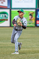 Clinton LumberKings outfielder Billy Cooke (2) warms up in the outfield prior to a Midwest League game against the Wisconsin Timber Rattlers on April 26, 2018 at Fox Cities Stadium in Appleton, Wisconsin. Clinton defeated Wisconsin 7-3. (Brad Krause/Four Seam Images)