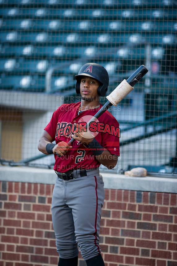 AZL Diamondbacks second baseman Eddie Hernandez (2) in the on deck circle during the game against the AZL Cubs on August 11, 2017 at Sloan Park in Mesa, Arizona. AZL Cubs defeated the AZL Diamondbacks 7-3. (Zachary Lucy/Four Seam Images)