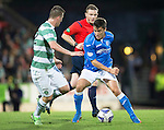 St Johnstone v Celtic...13.08.14  SPFL<br /> Adam Morgan takes on Callum McGrgeor<br /> Picture by Graeme Hart.<br /> Copyright Perthshire Picture Agency<br /> Tel: 01738 623350  Mobile: 07990 594431