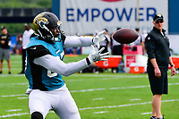 August 7, 2017: Jacksonville Jaguars running back Leonard Fournette (27) makes a catch during a joint practice at New England Patriots training camp where they hosted the Jacksonville Jaguars on the practice fields at Gillette Stadium, in Foxborough, Massachusetts. Eric Canha/CSM