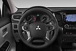 Car pictures of steering wheel view of a 2019 Mitsubishi L200 Black Collection Plus 4 Door Pick Up