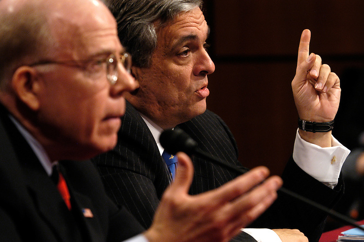 CIA Director George Tenet testifying with his deputy John McLaughlin at the counterterrorism policy hearing of the National Commission on Terrorist Attacks upon the United States.