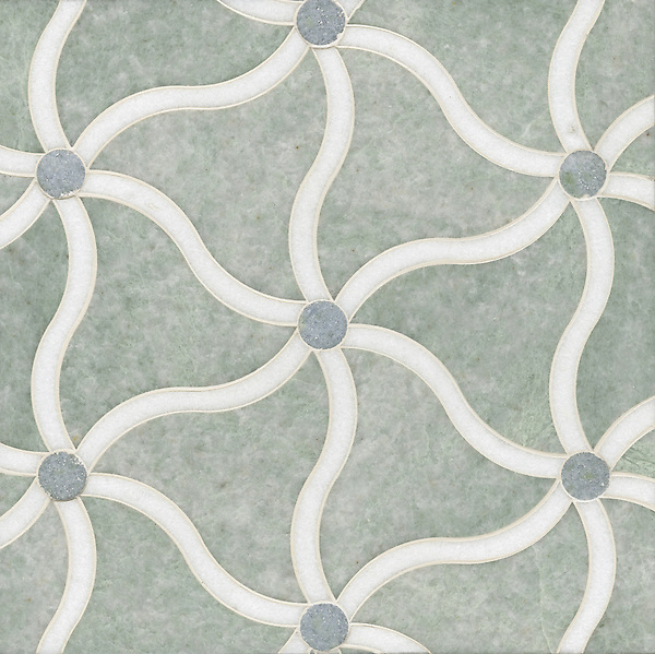 Tallulahl, a stone water jet mosaic, shown in Celeste, Ming Green, and Thassos, is part of the Ann Sacks Beau Monde collection sold exclusively at www.annsacks.com