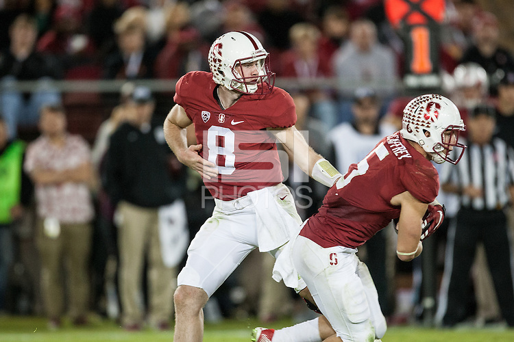 Stanford, CA - Saturday November 14, 2015: Kevin Hogan and Christian McCaffreyduring the Stanford vs Oregon game Saturday night at Stanford Stadium.<br /> <br /> The Ducks won 38-36.