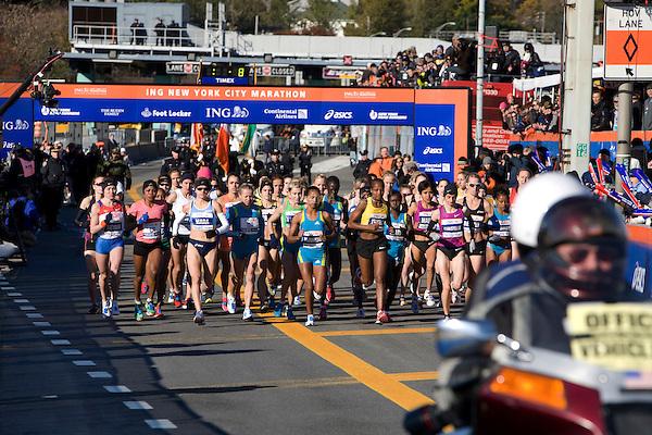 The start of the Women's Elite runners at the ING New York City Marathon on Staten Island on 07 November 2010, with Tatyana Pushkareva, Mara Yamauchi, Buzunesh Deba, Teyba Erkesso and Christelle Daunay in the lead.