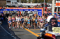 The start of the Women's Elite runners at the ING New York City Marathon on Staten Island on 07 November 2010, with Tatyana Pushkareva, Mara Yamauchi, Buzunesh Deba, Teyba Erkesso and Christelle Daunay in the lead.