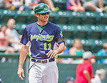 8 July 2014: Vermont Lake Monsters Manager David Newhan coaches third base during a game against the Lowell Spinners at Centennial Field in Burlington, Vermont. The Lake Monsters rallied with two runs in the 9th to defeat the Spinners 5-4 in NY Penn League action. Mandatory Credit: Ed Wolfstein Photo *** RAW Image File Available ****