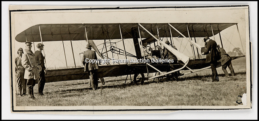 BNPS.co.uk (01202 558833)<br /> Pic: SwannAuctions/BNPS<br /> <br /> ***Please use full byline***<br /> <br /> Picture taken by Mayfield, of Lt. McCredy, in a Wright Model B.<br /> <br /> A fascinating archive of previously unseen photographs documenting the Wright Brothers' pioneering advances in early flight has come to light.<br /> <br /> The black and white photos chart Wilbur and Orville Wright's work developing their rudimentary aircraft in the years following their historic first powered flight in 1903.<br /> <br /> The collection was compiled by aviation enthusiast Walt Burton, who bought two albums of photos of the Wright Brothers from Frank Hermes, a businessman who paid the pair to fly his freight around.<br /> <br /> It expected to fetch upwards of £20,000 when it goes under the hammer at Swann Auction Galleries.