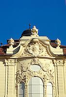 Architectural details of the Art Nouveau Reduta Palace in downtown Bratislava. 1031509. Bratislava, Slovakia.