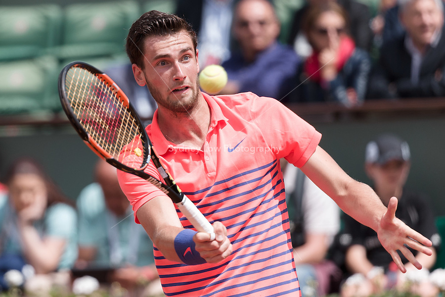 May 26, 2015: Quentin Halys (FRA) in action in a 1st round match against Rafael Nadal (ESP) on day three of the 2015 French Open tennis tournament at Roland Garros in Paris, France. Sydney Low/AsteriskImages