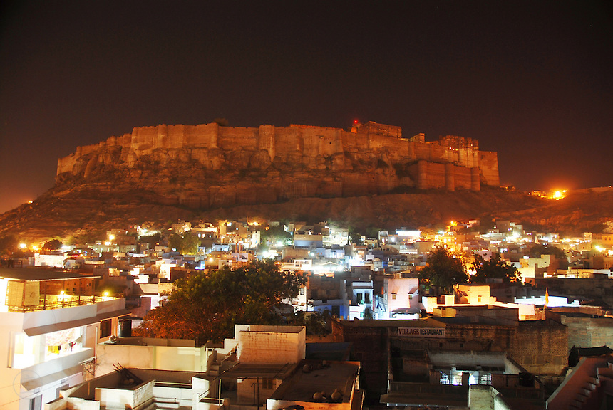 The Jodhpur fort, or Mehrangarh, looking across the blue city at night, Rajasthan, India.