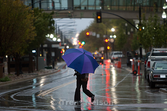 Trent Nelson     The Salt Lake Tribune.Rain and snow fell in downtown Salt Lake City, UT on Tuesday, November 1, 2011.