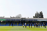 Milton Keynes Dons players arrive during the Sky Bet League 1 match between Southend United and MK Dons at Roots Hall, Southend, England on 21 April 2018. Photo by Carlton Myrie.