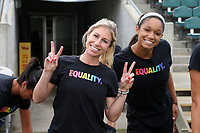 Cary, North Carolina  - Saturday June 17, 2017: McCall Zerboni and Darian Jenkins wear Nike Equality BeTrue Tees before a regular season National Women's Soccer League (NWSL) match between the North Carolina Courage and the Boston Breakers at Sahlen's Stadium at WakeMed Soccer Park. The Courage won the game 3-1.