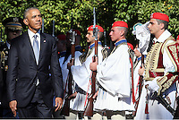 Pictured: US President Barack Obama walk next to Greek Presidential Guards known as Tsoliades as he arrives at the Presidential Mansion in Athens, Greece. Tuesday 15 November 2016<br /> Re: US President Barack Obama state visit to Greece