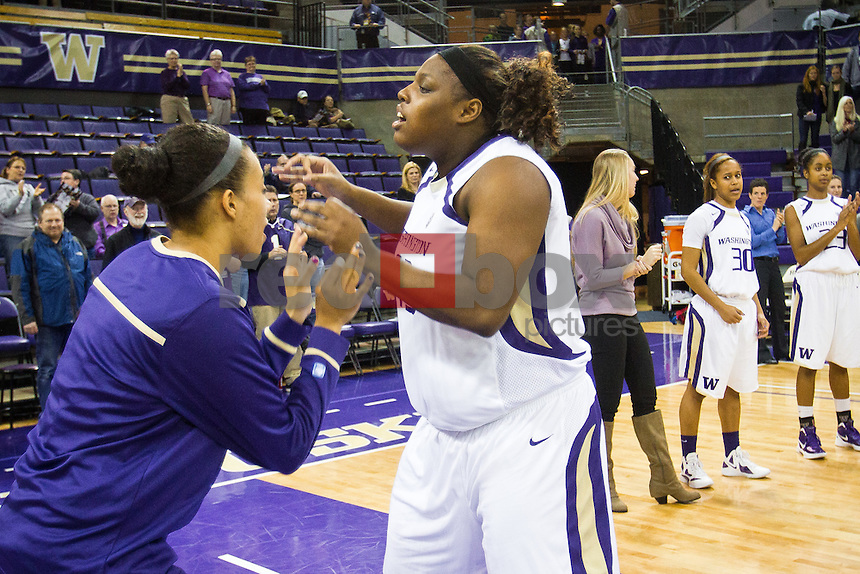 Regina Rogers, Charmaine Barlow..---Washington Huskies women's basketball against the Arizona Wildcats at Alaska Airlines Arena at Hec Edmundson Pavilion in Seattle on Thursday, January 26, 2012. (Photo by Dan DeLong/Red Box Pictures)