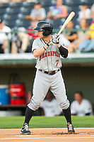 Alex Presley (7) of the Indianapolis Indians at bat against the Charlotte Knights at Knights Stadium on July 22, 2012 in Fort Mill, South Carolina.  The Indians defeated the Knights 17-1.  (Brian Westerholt/Four Seam Images)