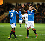 James Tavernier celebrates his goal with Rangers team mate Gedion Zelalem