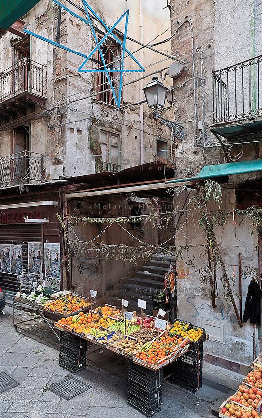 Palermo: lights in the market town of Capo.<br /> Palermo: luminarie nel mercato storico del Capo.