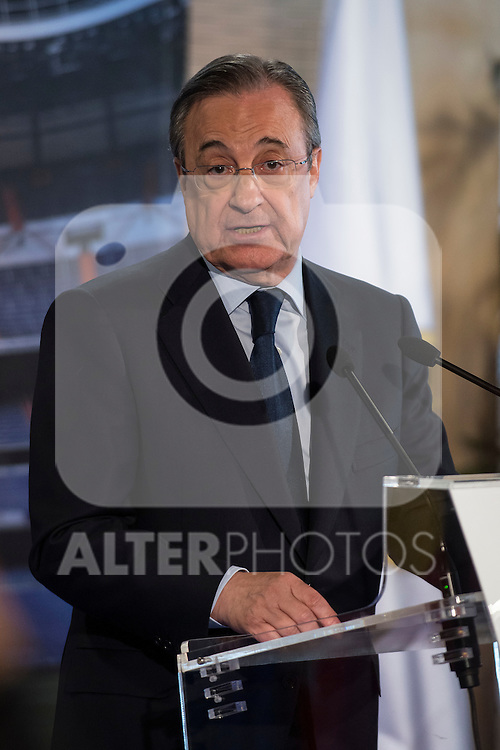 President of Real Madrid, Florentino P&eacute;rez, during the press conference of the Iker Casillas tribute at Santiago Bernabeu Stadium in Madrid. July 13. 2015.<br />  (ALTERPHOTOS/BorjaB.Hojas)
