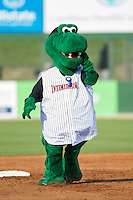 Kannapolis Intimidators mascot Tim E. Gator runs the bases between innings of the South Atlantic League game between the Hickory Crawdads and the Kannapolis Intimidators at CMC-Northeast Stadium on May 18, 2014 in Kannapolis, North Carolina.  The Intimidators defeated the Crawdads 6-5 in 10 innings.  (Brian Westerholt/Four Seam Images)