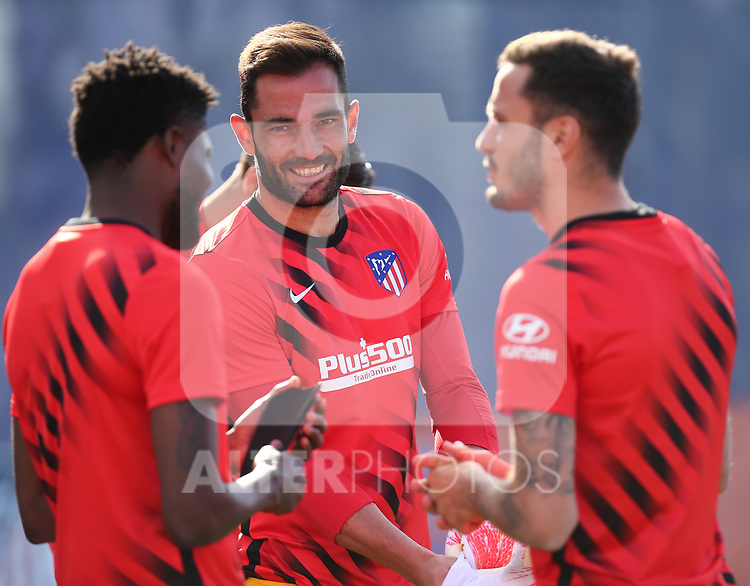 Atletico de Madrid's Thomas Partey, Antonio Adan and Saul Niguez during training session. June 9,2020.(ALTERPHOTOS/Atletico de Madrid/Pool)