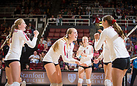 Stanford, CA - October 11, 2019: Mackenzie Fidelak, Jenna Gray, Kate Formico, Meghan McClure at Maples Pavilion. The Stanford Cardinal swept the Arizona Wildcats 3-0.