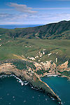 Aerial over the coast of Santa Cruz Island, Channel Islands, California