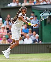 England, London, Juli 02, 2015, Tennis, Wimbledon, Dustin Brown (GER) in his match against Rafael Nadal (ESP)<br /> Photo: Tennisimages/Henk Koster