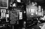 August 1970, Manhattan, New York City, New York State, USA --- The interior and menu of McSorley's Old Ale House in Manhattan in 1970. McSorley's was New York City's oldest bar and it refused female patrons before 1970. --- Image by © JP Laffont