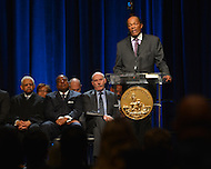 January 2, 2013  (Washington, DC)  Marion Barry, Jr. (D-Ward 8) addresses the audience after taking his 10th oath of office during a ceremony at the Washington Convention Center January 2, 2013.  (Photo by Don Baxter/Media Images International)