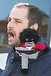 © Joel Goodman - 07973 332324 . 22/10/2016 . Margate , UK . A White Lives Matter Protester with a Golliwog on his shoulder . A White Lives Matter protest and march , opposed by antifascists , is held in Margate , Kent . Photo credit : Joel Goodman