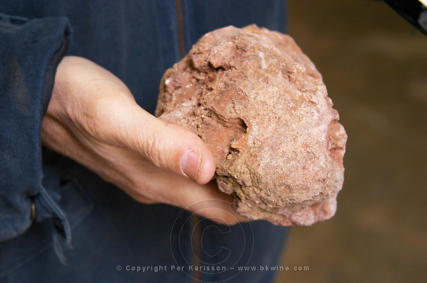 Alberic Mazoyer showing in his hand a stone from the soil type 'Chailles' that has given its name to one of the blends. Alain Voge, Cornas, Ardeche, Ardèche, France, Europe